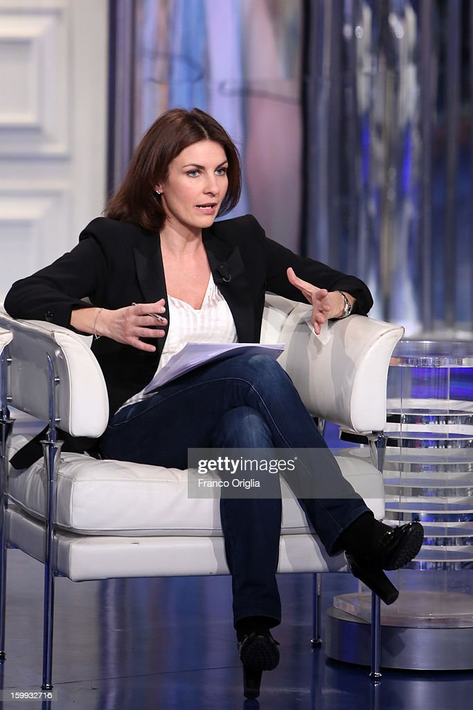 Alessandra Moretti, spokeswoman of secretary and centre-left candidate for prime minister Pier Luigi Bersani, attends 'Porta A Porta' TV Show on January 23, 2013 in Rome, Italy. National Elections in Italy are scheduled for February 24.