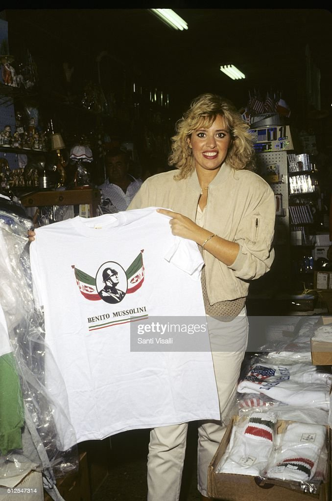 <a gi-track='captionPersonalityLinkClicked' href=/galleries/search?phrase=Alessandra+Mussolini&family=editorial&specificpeople=243183 ng-click='$event.stopPropagation()'>Alessandra Mussolini</a> with il Duce T-shirt on September 10, 1996 in New York, New York.