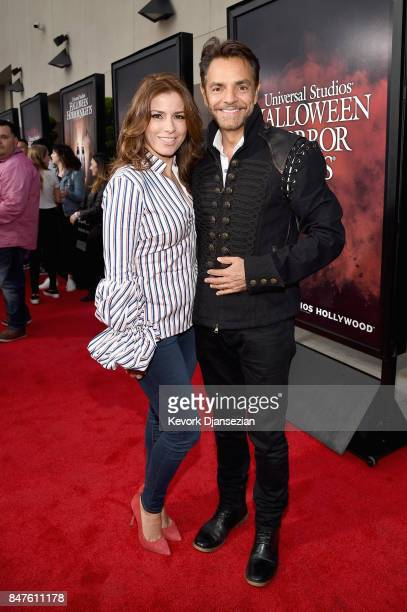 Alessandra Rosaldo and Eugenio Derbez attend Halloween Horror Nights Opening Night Red Carpet at Universal Studios Hollywood on September 15 2017 in...