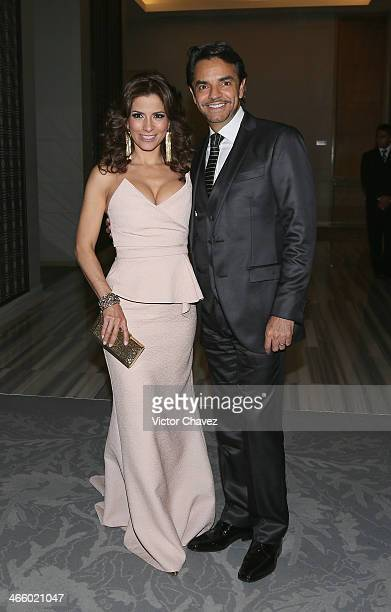 Alessandra Rosaldo and Eugenio Derbez attend the Global Gift Gala Mexico City red carpet at St Regis Hotel on January 30 2014 in Mexico City Mexico