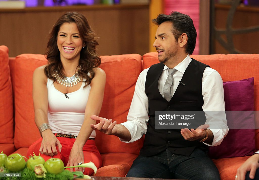 Alessandra Rosaldo and <a gi-track='captionPersonalityLinkClicked' href=/galleries/search?phrase=Eugenio+Derbez&family=editorial&specificpeople=580445 ng-click='$event.stopPropagation()'>Eugenio Derbez</a> make an appearance to promote the film 'Instructions Not Included' on Despierta America at Univision Headquarters on August 29, 2013 in Miami, Florida.