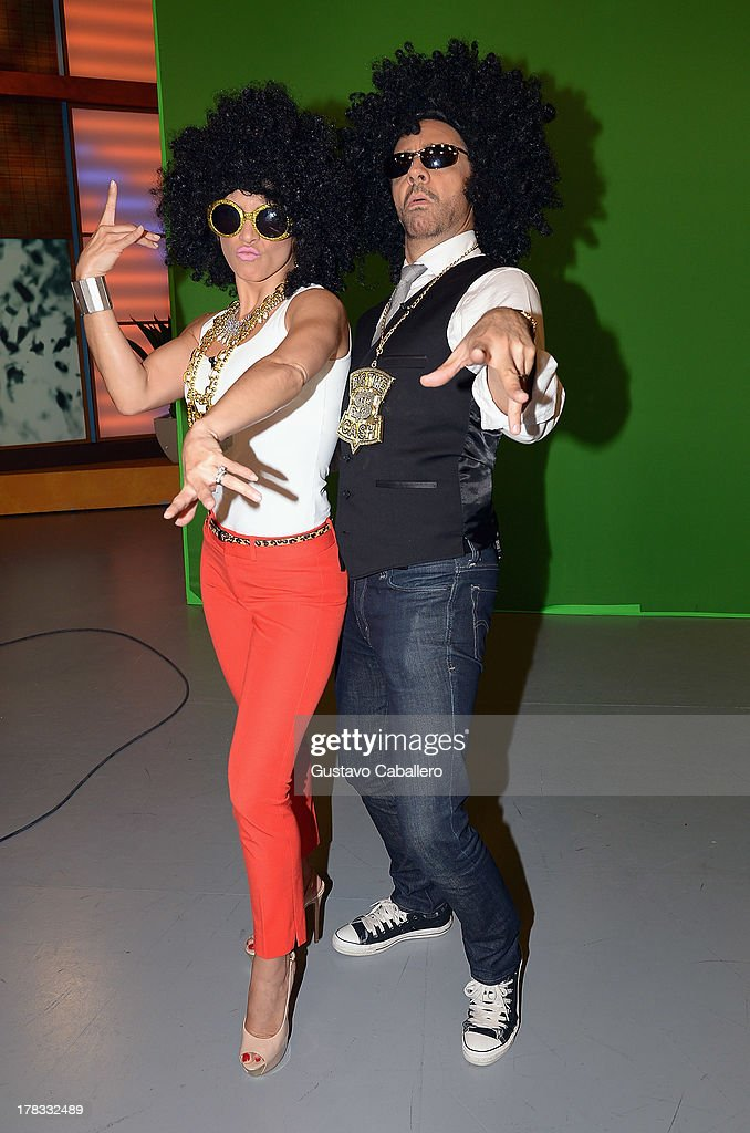 Alessandra Rosaldo and Eugenio Derbez make an appearance to promote the film 'Instructions Not Included' at Univision Headquarters on August 29 2013...