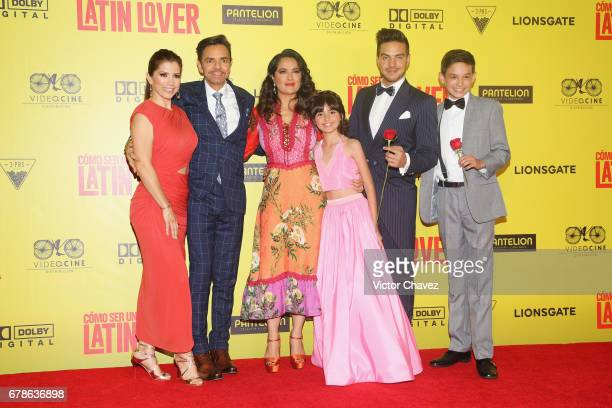 Alessandra Rosaldo Eugenio Derbez Salma Hayek Manelly Zepeda Vadhir Derbez and Noel Carabaza attend the 'How To Be A Latin Lover' Mexico City...