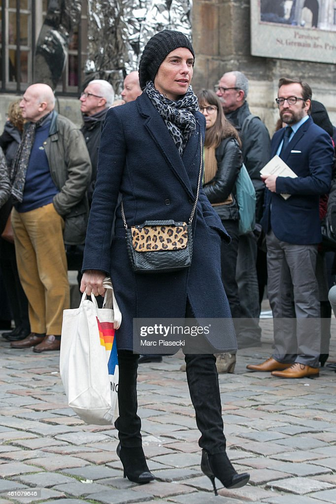 Alessandra Sublet leaves the funeral of journalist Jacques Chancel at Saint-Germain-des-Pres church on January 6, 2015 in Paris, France.