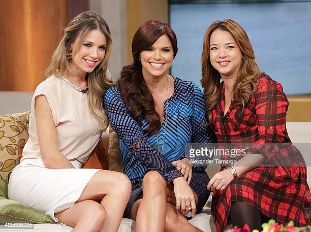 Alessandra Villegas Rashel Diaz and Adamari Lopez is seen on the set of Telemundo's 'Un Nuevo Dia' to promote the movie 'Pompeii' at Telemundo Studio...