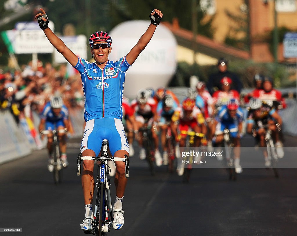 Alessandro Ballan of Italy celebrates winning the Elite Men's Road Race during the 2008 UCI Road World Championships on September 28 2008 in Varese...