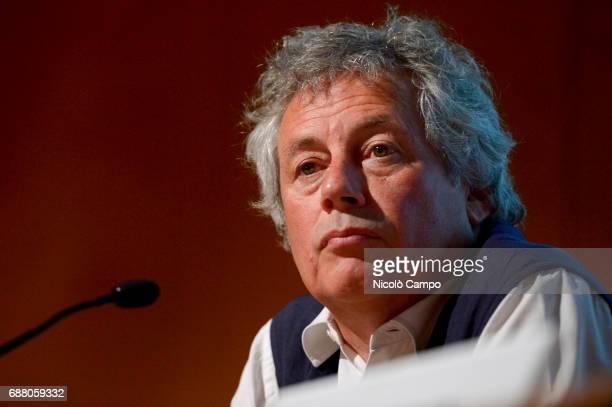 Alessandro Baricco speaks on stage during the 30th Turin International Book Fair