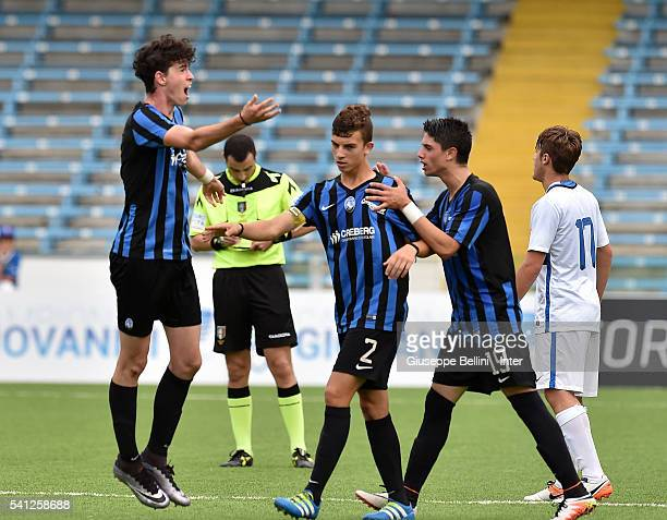 Alessandro Bastoni of Atalanta Bergamasca Calcio celebrates after scoring goal 11 during Serie A U17 Finals between FC Internazionale Milano and...