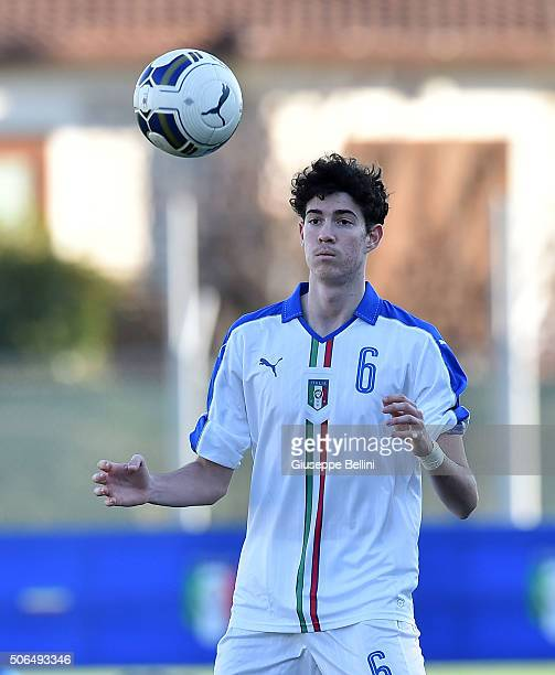 Alessandro Bastoni of Italy in action during the international friendly match between Italy U17 and Spain U17 on January 20 2016 in Ferentino Italy