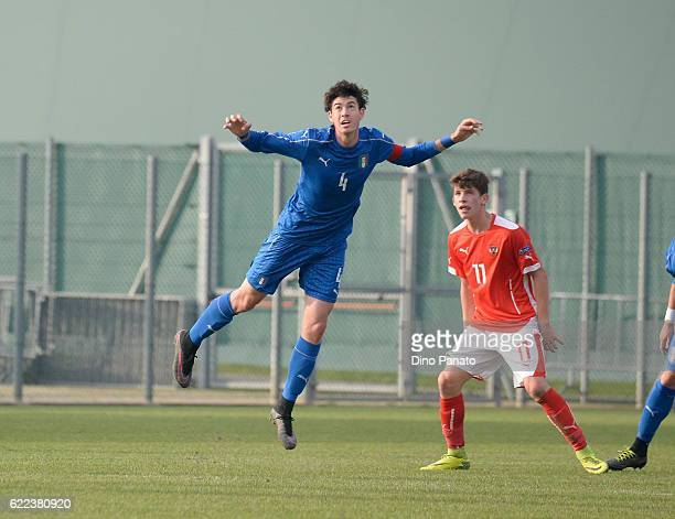 Alessandro Bastoni of Italy U18 competes with Dominik Fitz of Austria U18 during the international friendly match between Italy U18 and Austria U18...