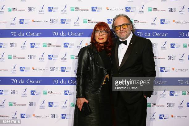 Alessandro Bertolazzi and his wife attend a photocall for Nastri D'Argento at Auditorium Parco Della Musica on March 22 2017 in Rome Italy