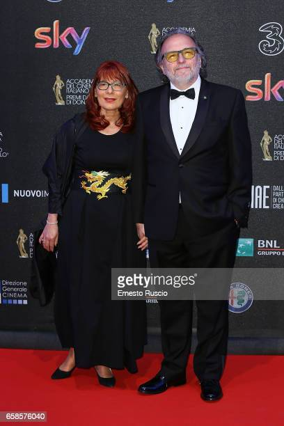 Alessandro Bertolazzi and his wife walk the red carpet of the 61 David Di Donatello on March 27 2017 in Rome Italy