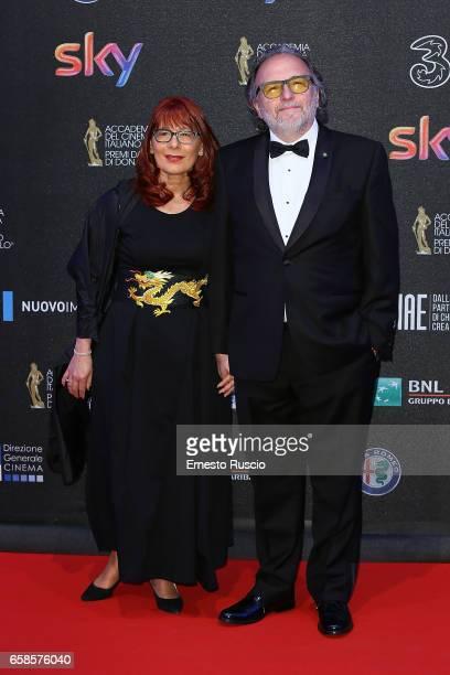 Alessandro Bertolazzi and his wife walk the red carpet of the 61 David Di Donatello on March 27 2017 in Rome Italy
