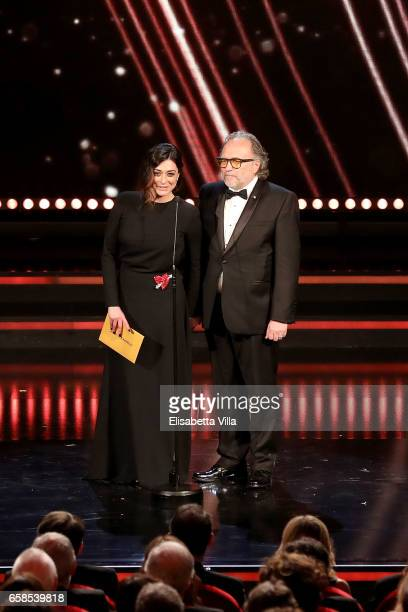 Alessandro Bertolazzi and Valentina Lodovini attend the 61 David Di Donatello ceremony on March 27 2017 in Rome Italy