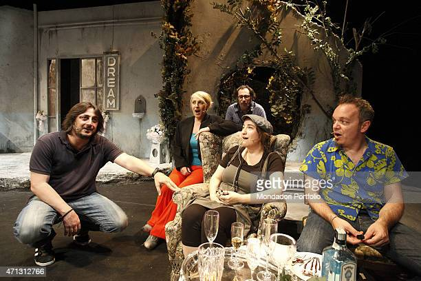 Alessandro Betti Katia Follesa Marco Silvestri Maria Di Biase and Corrado Nuzzo young Italian comic actors on the stage during the rehearsal of A...