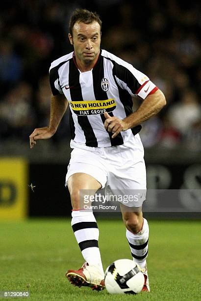 Alessandro Birindelli of Juventus controls the ball during the Asia Pacific Tour friendly match between the Melbourne Victory and Juventus at the...
