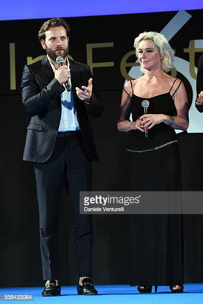 Alessandro Borghi and Monica Guerritore attend 62 Taormina Film Fest Opening on June 10 2016 in Taormina Italy