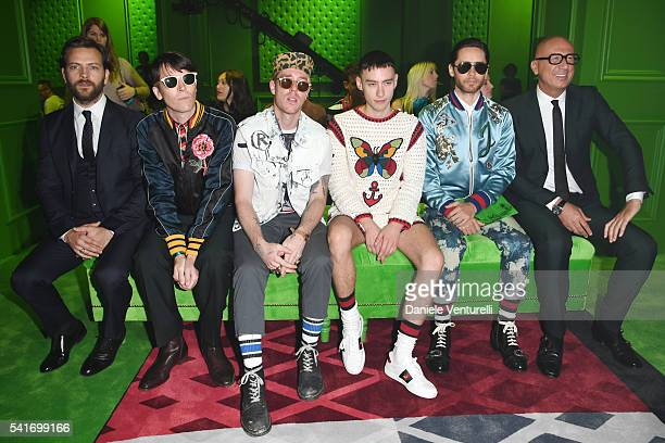 Alessandro Broghi Ryan McGinley Trevor Andrew Olly Alexander Jared Leto and Marco Bizzarri attend the Gucci show during Milan Men's Fashion Week SS17...