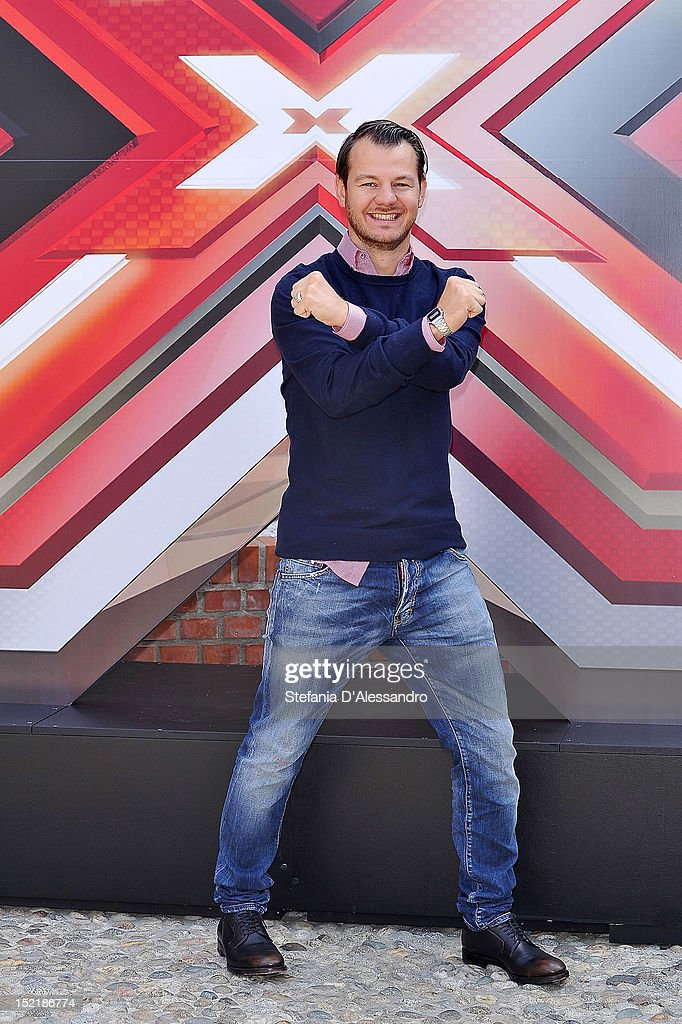 Alessandro Cattelan attends X Factor 2012 Press Conference on September 17, 2012 in Milan, Italy.