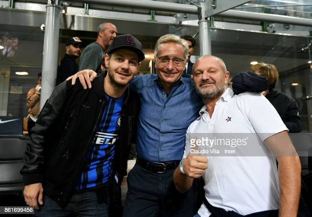 Alessandro Cattelan Paolo Bonolis and Andrea Pucci attend during the Serie A match between FC Internazionale and AC Milan at Stadio Giuseppe Meazza...