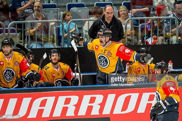 Alessandro Chiesa of HC Lugano reacts from the bench during the Champions Hockey League match between Adler Mannheim and HC Lugano at SAP on August...