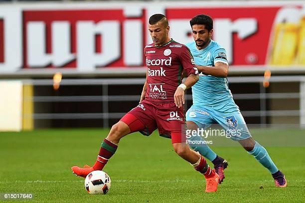 Alessandro Cordaro midfielder of SV Zulte Waregem and Kenneth Saief midfielder of KAA Gent during the Jupiler Pro League match between KAA Gent and...