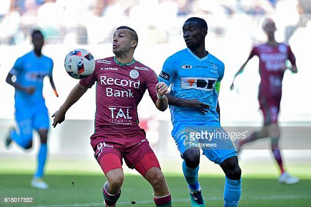 Alessandro Cordaro midfielder of SV Zulte Waregem controls the ball in front of Nana Asare defender of KAA Gent during the Jupiler Pro League match...
