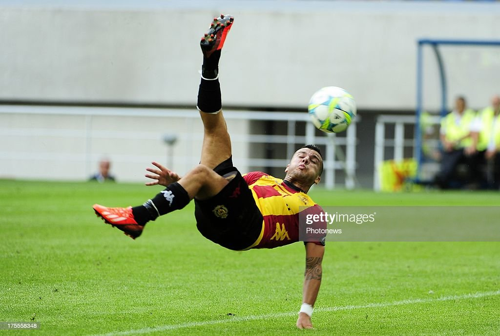 Alessandro Cordaro of KV Mechelen during the Jupiler League match between KAA Gent and KV Mechelen on August 04, 2013 in the Ghelamco stadium Gent, Belgium. (Photo by Philippe Crcohet / Photonews