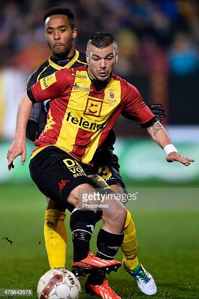 Alessandro Cordaro of KV Mechelen in front of Dennis Odoi of Sporting Lokeren OVL during the Jupiler Pro League match between KV Mechelen and...