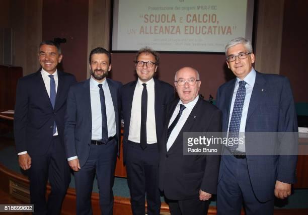 Alessandro Costacurta Gabriele Toccafondi Sport Minister Luca Lotti FIGC President Carlo Tavecchio and Vito Tisci pose during the Italian Football...