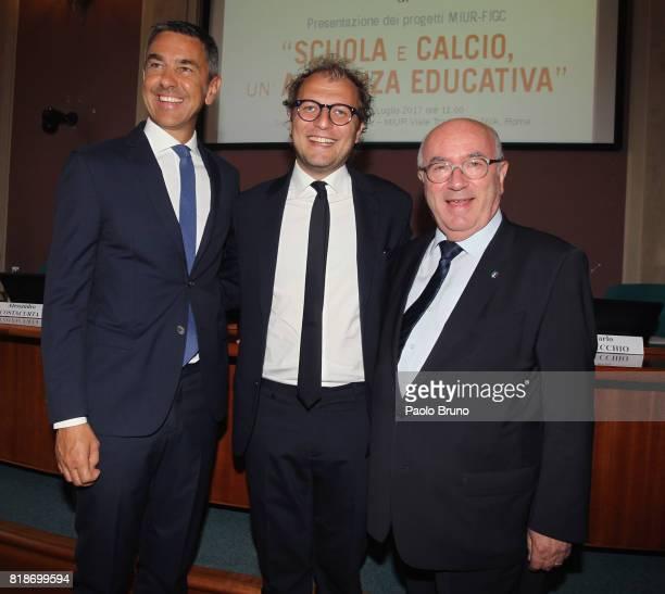 Alessandro Costacurta Sport Minister Luca Lotti FIGC President Carlo Tavecchio pose during the Italian Football Federation press conference 'School...
