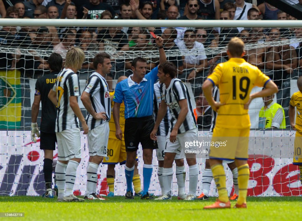 Alessandro De Ceglie of Juventus FC is shown a red card during the Serie A match between Juventus FC v Parma FC at Juventus Stadium on September 11, 2011 in Turin, Italy.