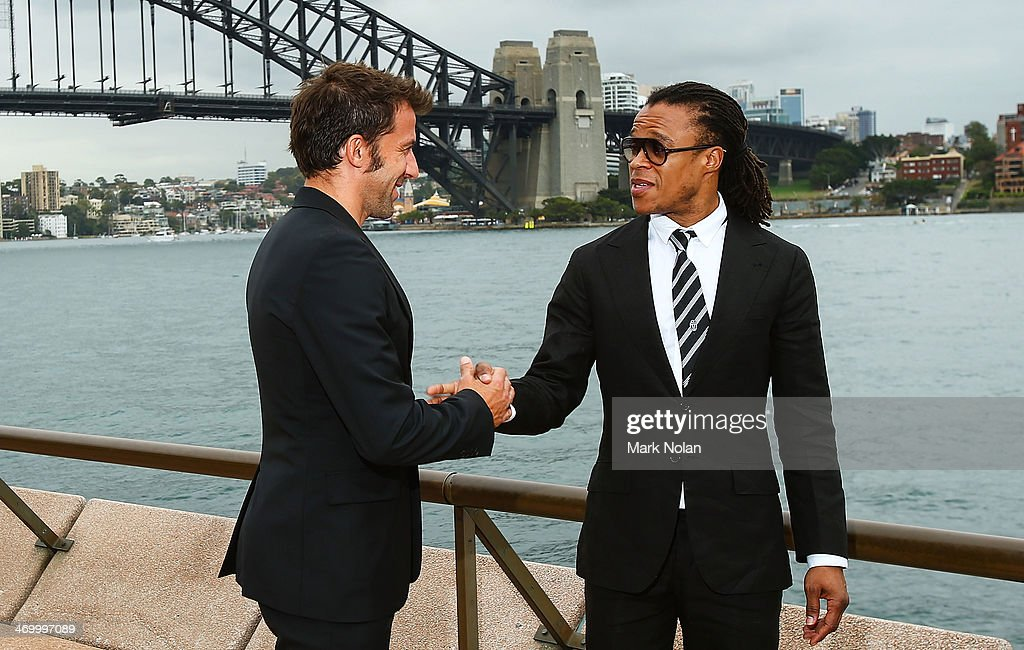 Alessandro Del Piero and Edgar Davids shake hands after a media opportunity ahead of the ALeague AllStars v Juventus FC match at Sydney Opera House...