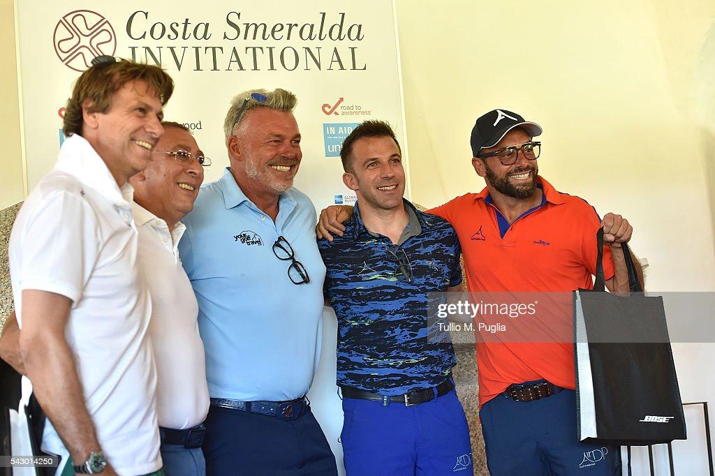 Alessandro Del Piero and his team are awarded by Darren Clarke at the end of The Costa Smeralda Invitational golf tournament at Pevero Golf Club - Costa Smeralda on June 25, 2016 in Olbia, Italy.