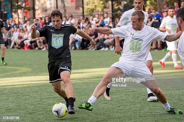 Alessandro Del Piero and Jay DeMerit compete during the Steve Nash Foundation Showdown at Sara D Roosevelt Park on June 24 2015 in New York City