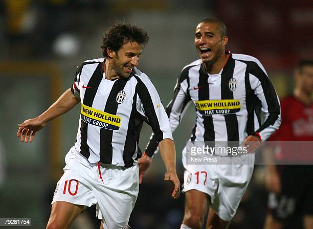 Alessandro Del Piero celebrates his goal with team mate David Trezeguet of Juventus during the Serie A match between Livorno and Roma at the Stadio...