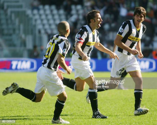 Alessandro Del Piero celebrates with Paolo De Ceglie and Sebastian Giovinco after scoring the first goal for Juventus during the Serie A match...