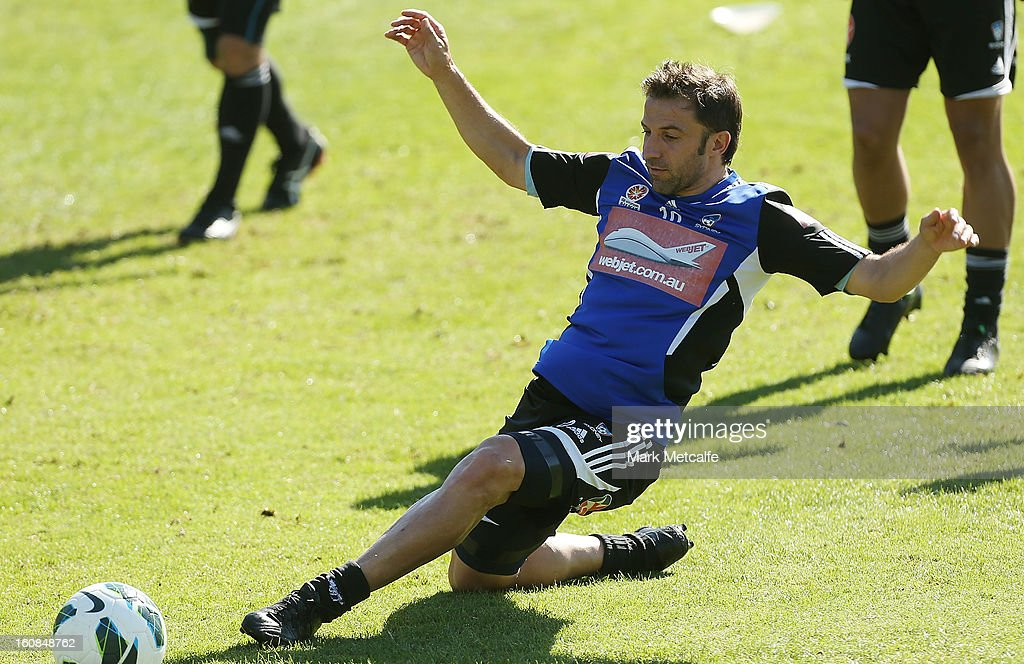Alessandro Del Piero challenges for the ball during a Sydney FC A-League training session at Macquarie Uni on February 7, 2013 in Sydney, Australia.