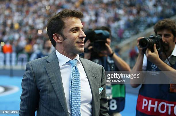 Alessandro Del Piero comes out to greet Juventus fans during the UEFA Champions League Final between Barcelona and Juventus at Olympiastadion on June...