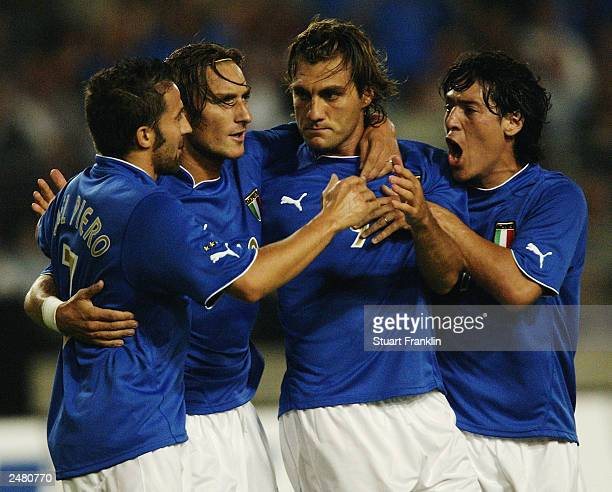 Alessandro Del Piero Francesco Totti Christian Vieri and Mauro German Camoranesi of Italy celebrate during the International friendly match between...