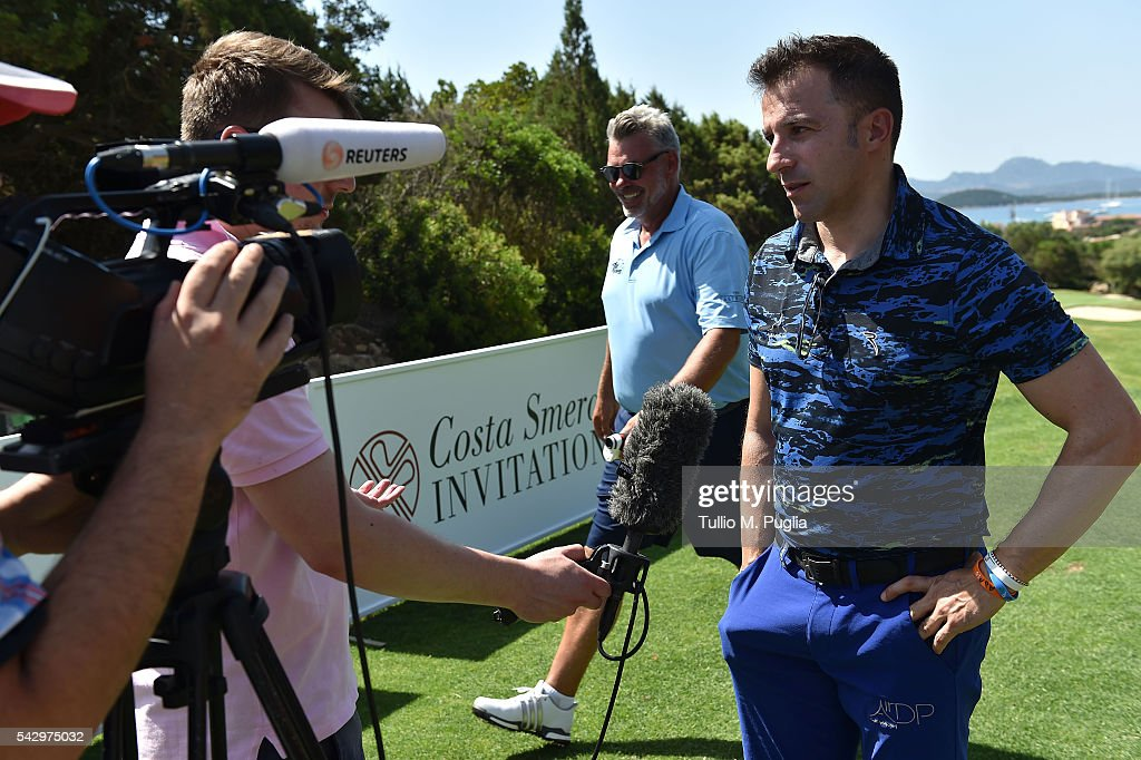Alessandro Del Piero gives an interview during The Costa Smeralda Invitational golf tournament at Pevero Golf Club - Costa Smeralda on June 25, 2016 in Olbia, Italy.