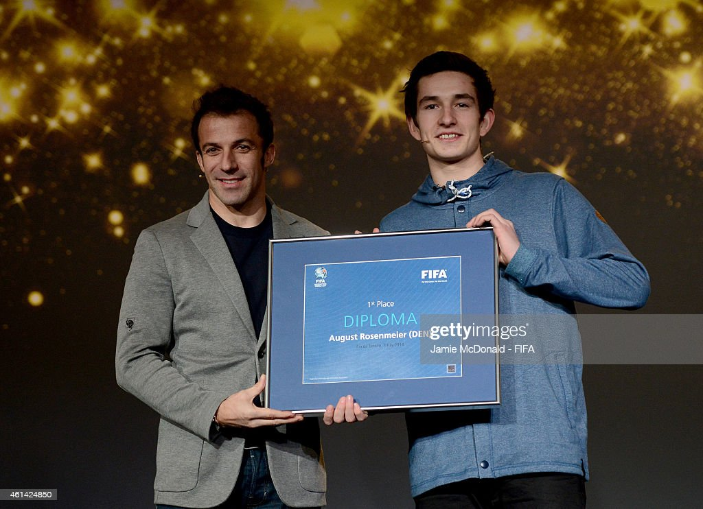 Alessandro Del Piero of Italy presents the FIFA Interactive World Cup Award to FIWC champion August Rosenmeier of Denmark prior to the FIFA Ballon...