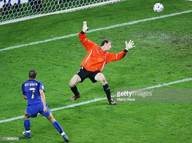 Alessandro Del Piero of Italy scores his team's second goal in extra time past Jens Lehmann of Germany during the FIFA World Cup Germany 2006...