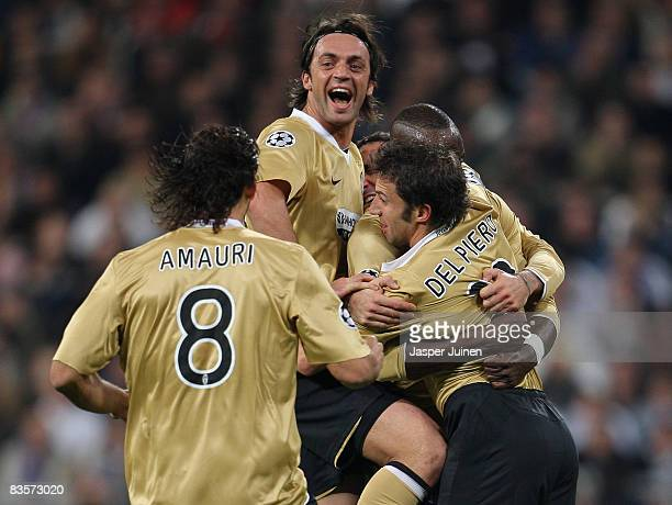 Alessandro Del Piero of Juventus celebrates scoring the opening goal with his teammates during the UEFA Champions League Group H match between Real...