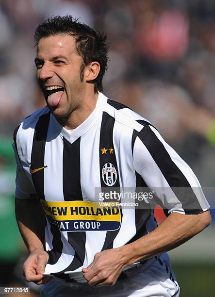 Alessandro Del Piero of Juventus FC celebrates his first goal during the Serie A match between Juventus FC and AC Siena at Stadio Olimpico di Torino...
