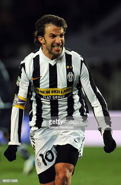 Alessandro Del Piero of Juventus FC celebrates his goal during the Serie A match between Juventus FC and SS Lazio at Stadio Olimpico di Torino on...