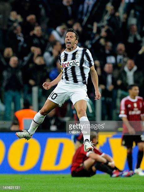Alessandro Del Piero of Juventus FC celebrates scoring the first goal during the Tim Cup match between Juventus FC and AC Milan at Juventus Arena on...