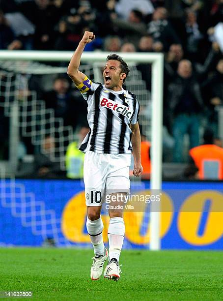 Alessandro Del Piero of Juventus FC celebrates scoring the first goal during the Tim Cup match between Juventus FC and AC Milan at Juventus Arena on...
