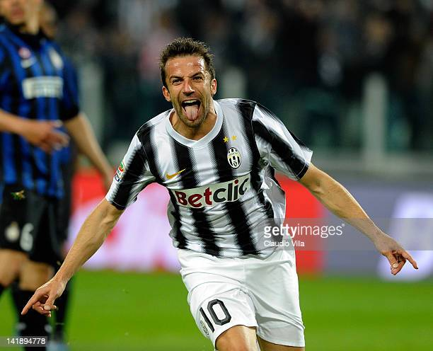 Alessandro Del Piero of Juventus FC celebrates scoring the second goal during the Serie A match between Juventus FC and FC Internazionale Milano at...