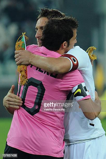 Alessandro Del Piero of Juventus FC salutes Francesco Totti of AS Roma prior to the Tim Cup match between Juventus FC and AS Roma at Juventus Arena...